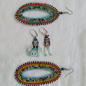 Two Pair Southwest Style Seed Bead Earrings